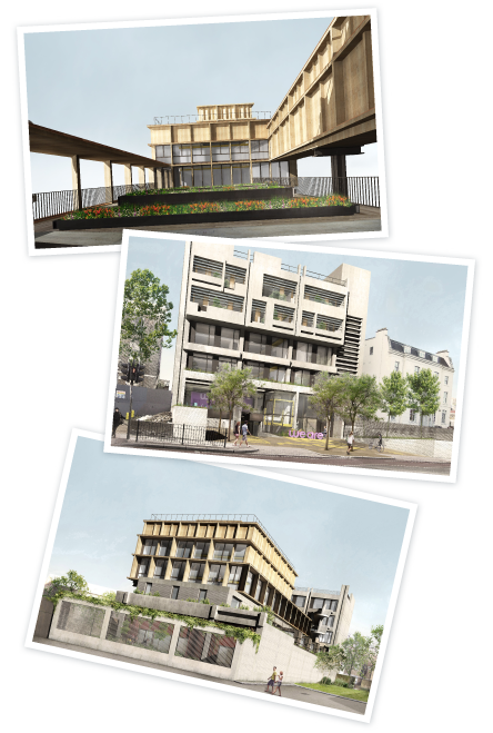 Transforming 336 - 3 views of planned development; planned extension, refurbished front, rear view of new extension